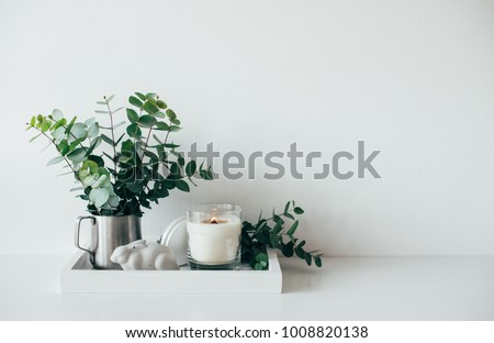Natural eco home decor with green leaves and burning candle on t Royalty-Free Stock Photo #1008820138