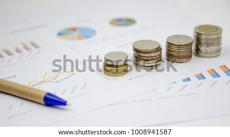 Finance background with market data and thai bath. #1008941587