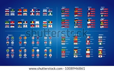 Football World championship groups. Set of four different flag illustration. Vector flag collection. 2018 soccer world tournament in Russia. World football cup. Nations flags info graphic. #1008946861