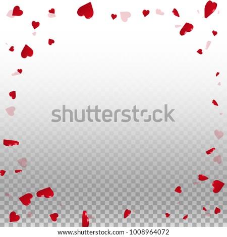 3d hearts. Round random frame on transparent grid light background. 3d hearts valentine's day original design. Vector illustration. #1008964072