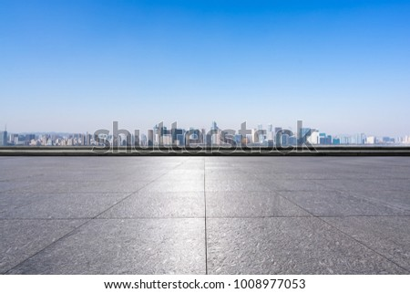empty marble floor with panoramic cityscape in shanghai #1008977053