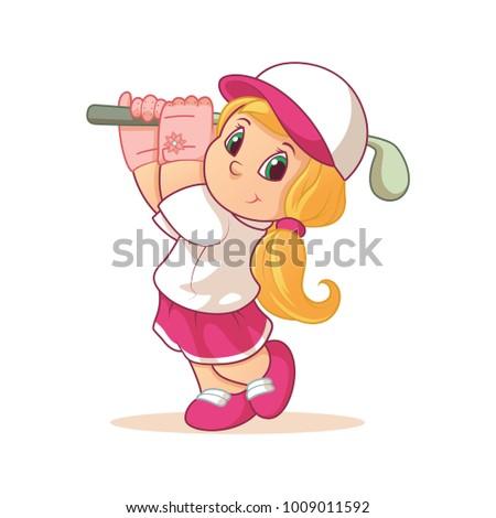 Illustration cartoon cute golf girl wearing glove