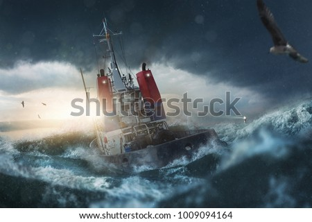 Ship goes by storm Royalty-Free Stock Photo #1009094164