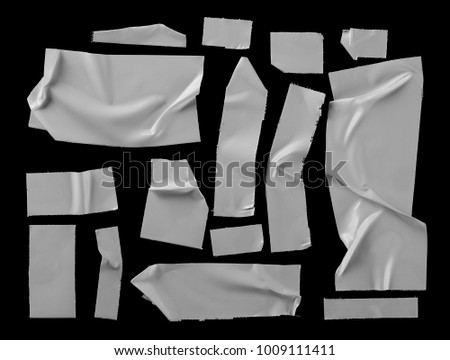 white adhesive tape, duct repair isolated on black background, with clipping path    #1009111411