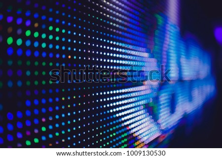 Closeup LED blurred screen. Bright abstract background ideal for design