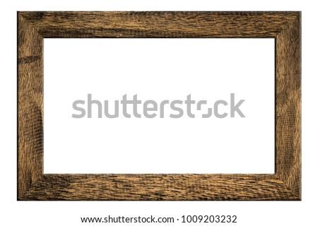 Old wood frame on white background