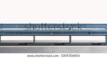Barrier, designed to prevent the exit of the vehicle from the curb or bridge, moving across the dividing strip. Guarding rail panorama isolated on white background #1009206856