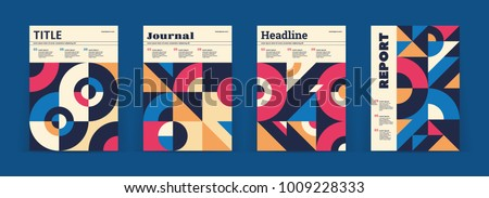 Set of geometric covers. Collection of cool vintage covers. Abstract shapes compositions. Vector. Royalty-Free Stock Photo #1009228333