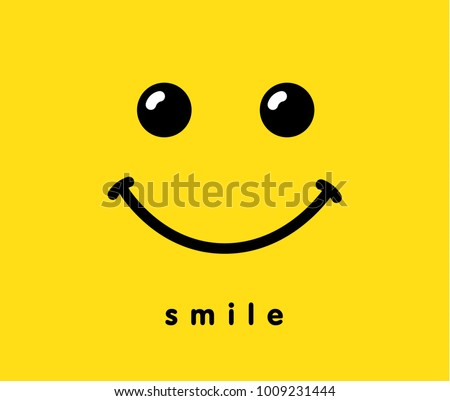 Smile icon template design. Smiling emoticon vector logo on yellow background. Face line art style Royalty-Free Stock Photo #1009231444