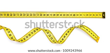Yellow measuring tape isolated on white background Royalty-Free Stock Photo #1009243966