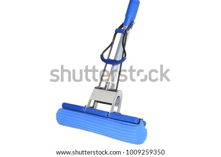 MOP floor with a sponge and pressing isolated on white background #1009259350