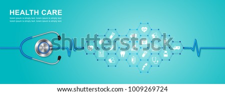 stethoscope and heartbeat flat icons in medicine, medical, health, cross, healthcare decoration for flyers, poster, web, banner, and card vector illustration Royalty-Free Stock Photo #1009269724