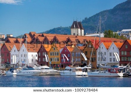 Bryggen street with boats in Bergen, UNESCO World Heritage Site, Norway #1009278484