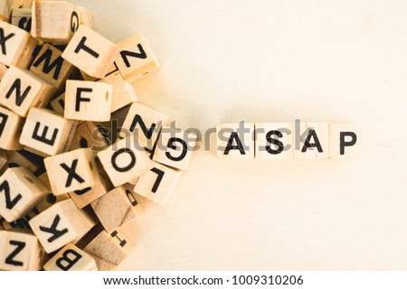 Asap word cube on wood background #1009310206