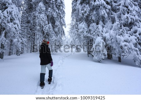 The girl in ski suite goes on the trail. On the lawn covered with snow the nice trees are standing poured with snowflakes in frosty winter morning. Dreamy firs in the enchanted forest. #1009319425
