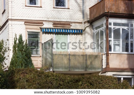 facades and buildings of historical city at south germany city in winter month january sunny afternoon #1009395082