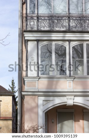 facades and buildings of historical city at south germany city in winter month january sunny afternoon #1009395139