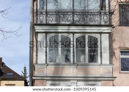 facades and buildings of historical city at south germany city in winter month january sunny afternoon #1009395145
