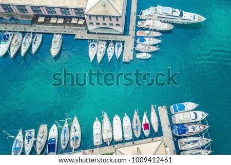 Top view of the marina of Genoa, Italy #1009412461