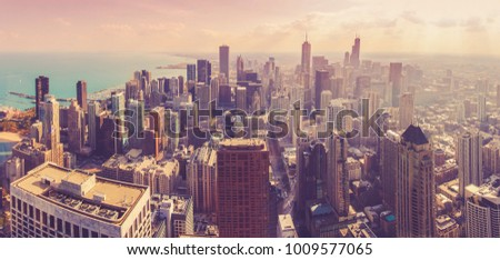 Aerial panorama of Chicago