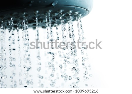 Shower and falling water drops. Royalty-Free Stock Photo #1009693216