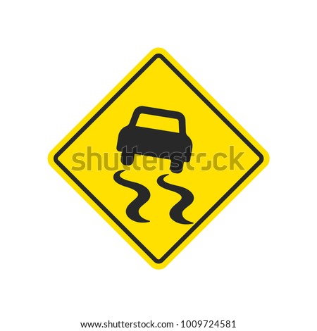 Slippery road warning sign with skidding car on yellow background.