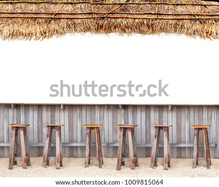 beach bar with wood chair on sand and thatched roof tropical hawaii concept on white isolated background for site advertising  with white place for text Royalty-Free Stock Photo #1009815064