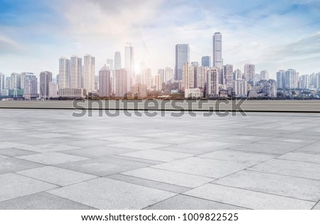 Urban road square and skyline of architectural landscape in Chon