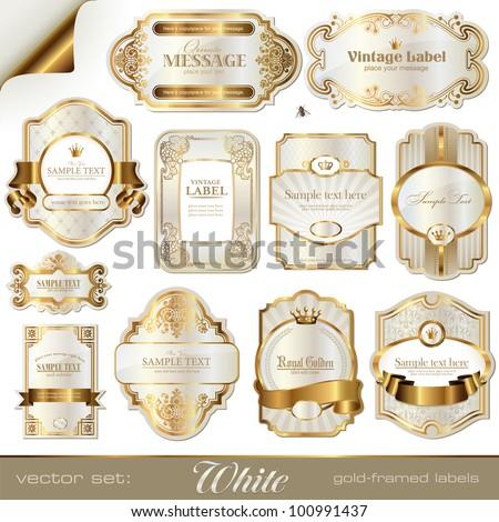 white gold-framed labels #100991437