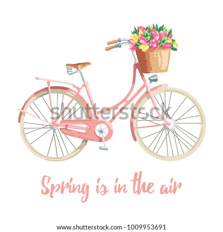 Romantic illustration about spring featuring a bicycle with a flower basket in pastel colours. Vector illustration.