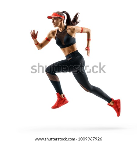 Woman runner in silhouette on white background. Dynamic movement. Side view #1009967926