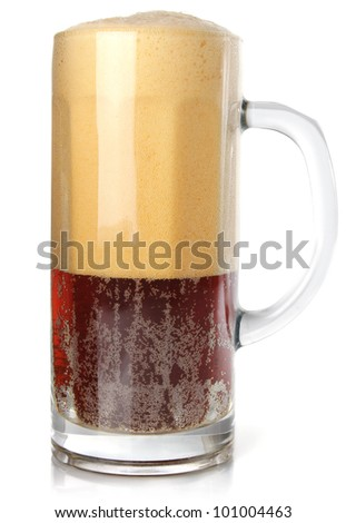 dark beer in goblet with rich froth isolated on white background #101004463