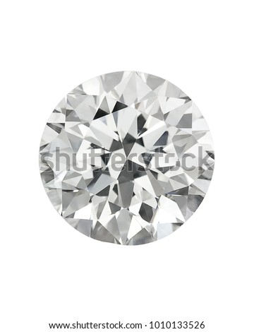 Diamond : top view of loose brilliant round diamonds on white background sharp high quality #1010133526