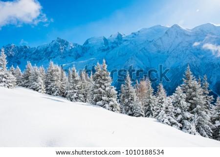 Winter landscape of Mont Blanc from chalets de Chailloux, Chamonix, France #1010188534