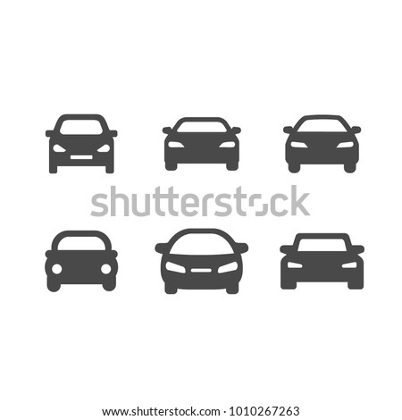 Icons of gray cars. flat vector icons on white background