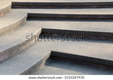 Design of concrete stairs for buildings, pathway for up and down, structure of straight lines and curves in the construction #1010287930