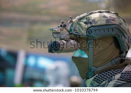 Binocular Night Vision Device on Military Helmet. #1010378794