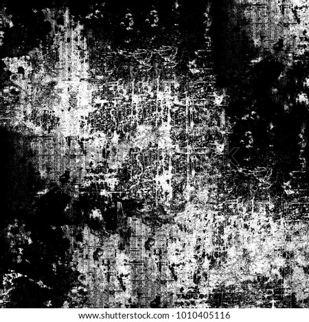 Grunge black white. Monochrome background from stains, cracks, lines, chips. Old texture from a chaotic pattern of dust #1010405116