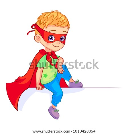 Little cute Super Boy sitting on a big white banner. Isolated  cartoon vector child  in super hero costume with billboard.