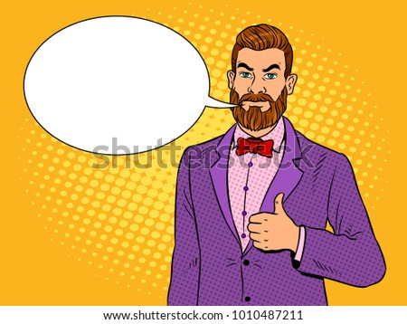 Stylish man with beard showing gesture thumbs up pop art retro vector illustration. Text bubble. Color background. Comic book style imitation.
