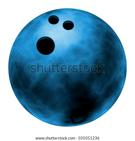 Realistic illustration of a blue bowling ball Isolated on white background #101051236