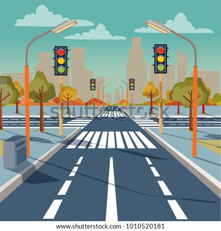 Vector illustration of city crossroad with traffic lights, road markings, sidewalk for pedestrians, without any cars and people. Cityscape, empty street, highway, urban concept in flat style Royalty-Free Stock Photo #1010520181