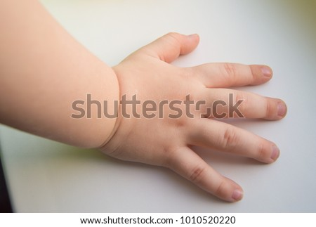 Child hand showing the five fingers isolated on a white background #1010520220