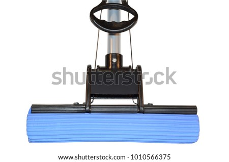 Plastic MOP with the blue sponge for the floor isolated on white background #1010566375
