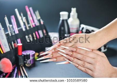 Luxury woman long nails.  Long stiletto frenchnails. Best manicure design.. #1010589580