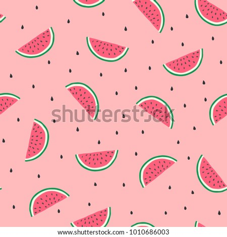 Watermelon slices in on a pink background