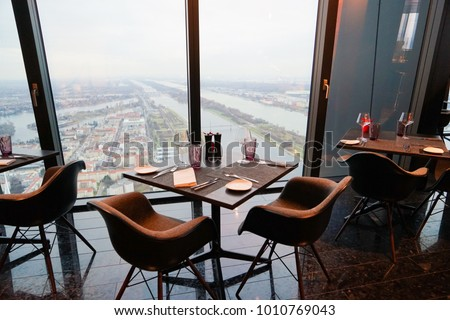 Vienna Donau City, Austria - 20 December 2017 - 57 Restaurant & Lounge, part of Melia Hotel Vienna on the top floor of the new DC Towers #1010769043