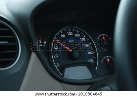 Car speedometer guage Royalty-Free Stock Photo #1010804845
