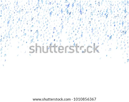Blue flying musical notes isolated on white background. Fresh musical notation symphony signs, notes for sound and tune music. Vector symbols for melody recording, prints and back layers.