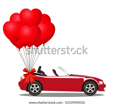 Red modern opened cartoon cabriolet car with bunch of red helium heart shaped balloons with festive bow isolated on white background. Sports car. Vector illustration. Clip art.
